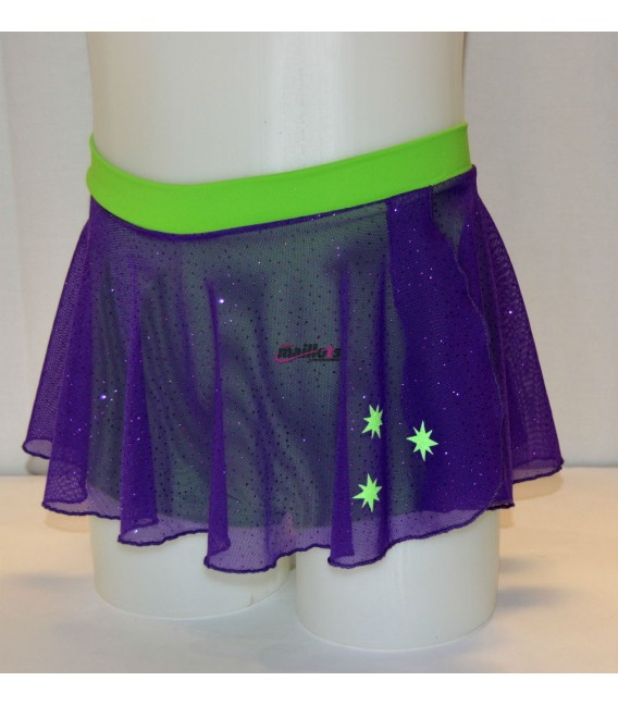 Falda tul brillo morada y verde flúor